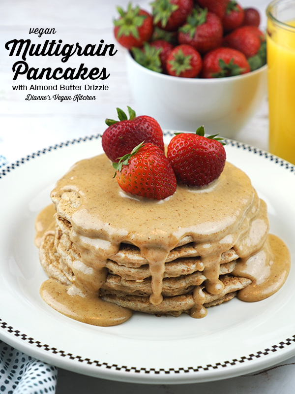 Vegan Multigrain Pancakes with Almond Butter Drizzle are a great dish with which to start your day. They're perfect for breakfast, brunch, or brinner!