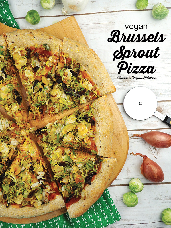 brussels sprout pizza on pizza paddle with text overlay