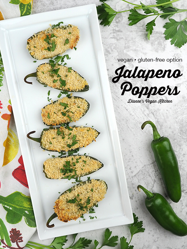 vegan jalapeño poppers on serving tray with text overlay