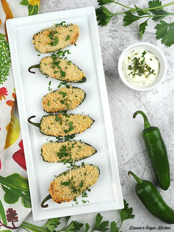 Vegan Jalapeno Poppers on serving tray