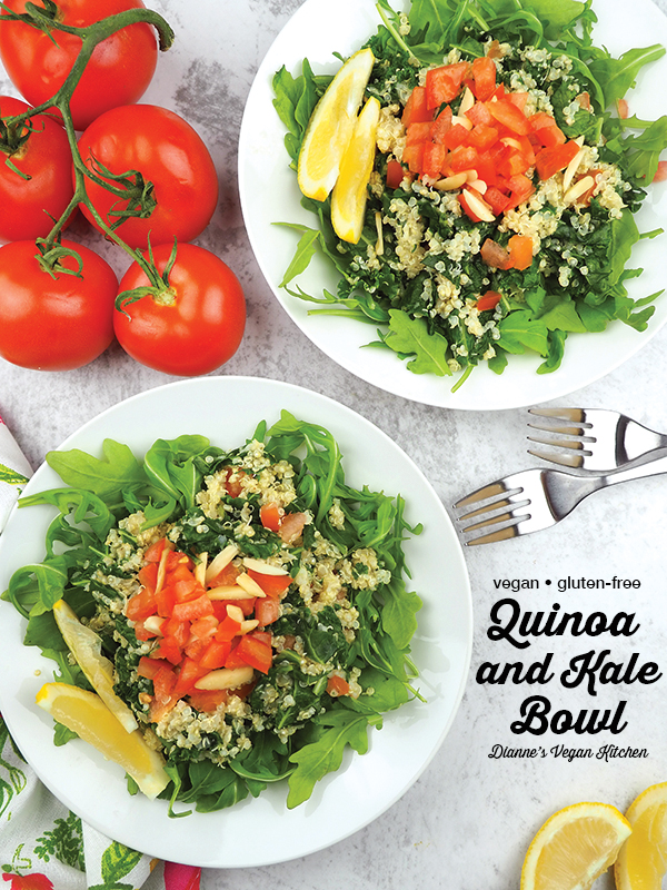 quinoa and kale bowl from above with text overlay