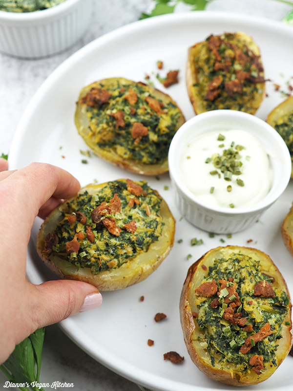 Vegan Spinach Dip Potato Skins