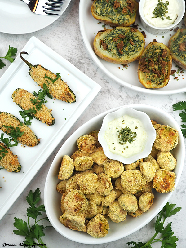 Cornmeal Crusted Brussels Sprouts, jalapeno poppers, potato skins