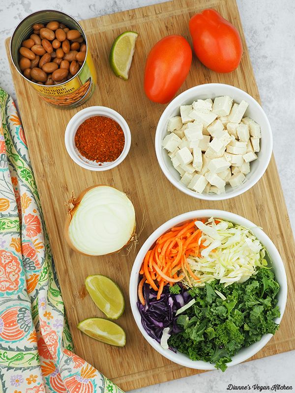 taco and kale salad ingredients