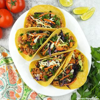 Three Layer Tacos with Kale Slaw from The High Protein Vegan Cookbook by Ginny Kay McMeans square