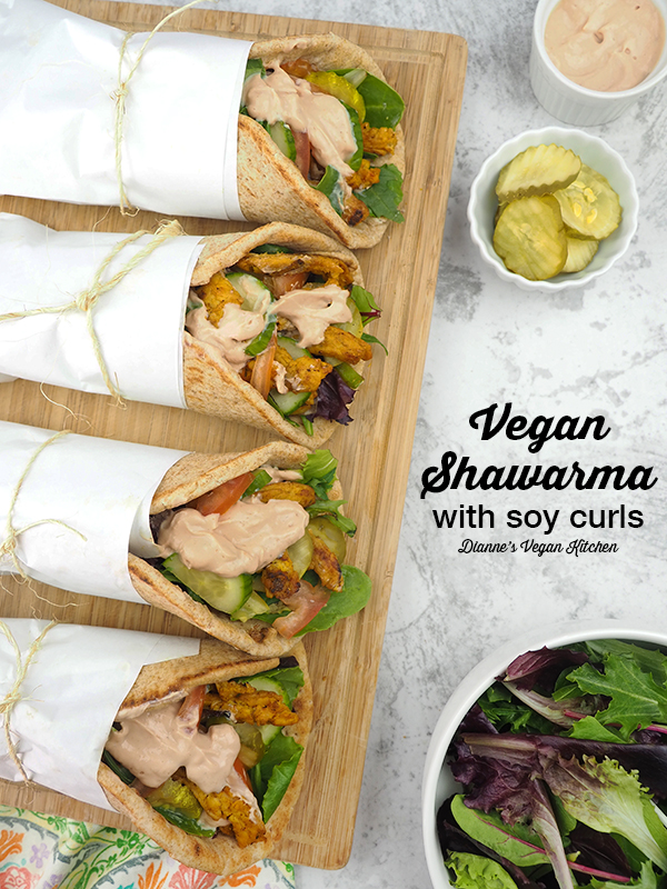 4 vegan shawarma wraps with text overlay