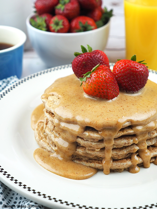 Vegan Multigrain Pancakes with Almond Butter Drizzle