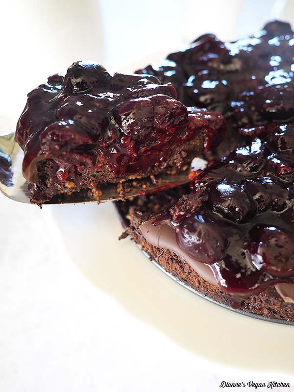 Vegan Chocolate Cherry Cheesecake slice