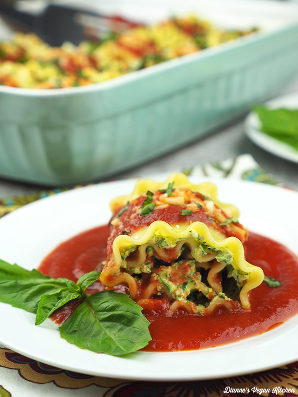 Vegan Lasagna Roll Ups on plate close up