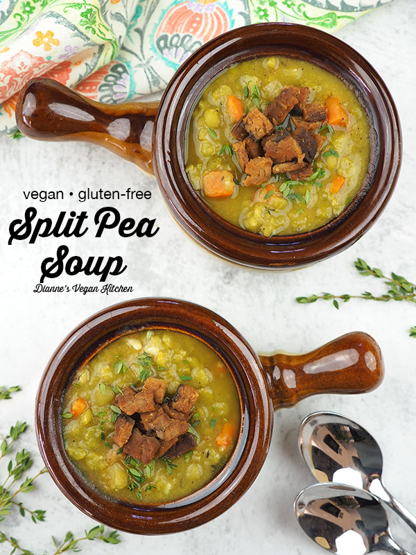 bowls of vegan split pea soup from above with text overlay