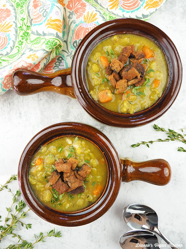 bowls of split pea soup from overhead