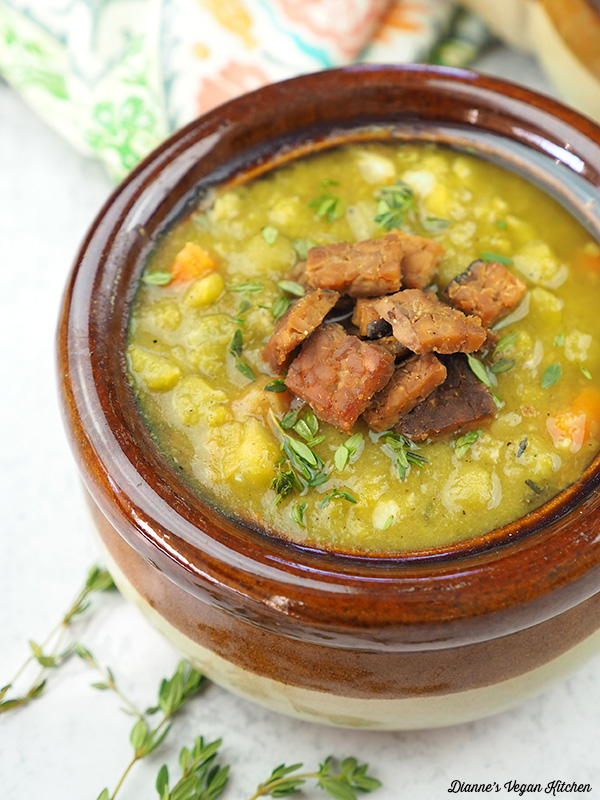 Vegan split pea soup in bowl close up