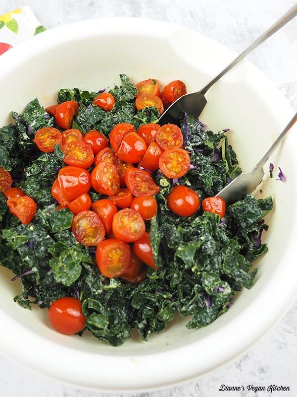 Tossing Vegan BLT Salad