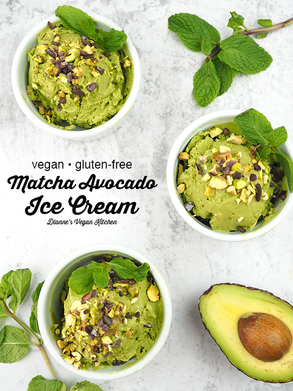 It's easy being green with creamy vegan Matcha Avocado Ice Cream! It's made with just a few ingredients and doesn't need an ice cream maker. It's gluten-free, dairy-free, and refined sugar-free.