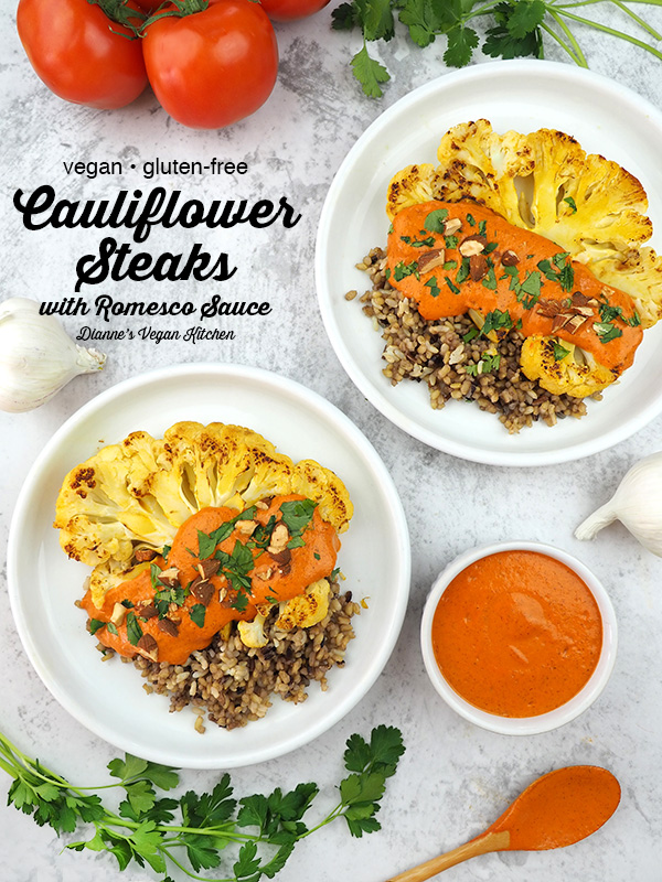 Cauliflower Steaks with Romesco Sauce on plates with spoon and tomatoes, text overlay