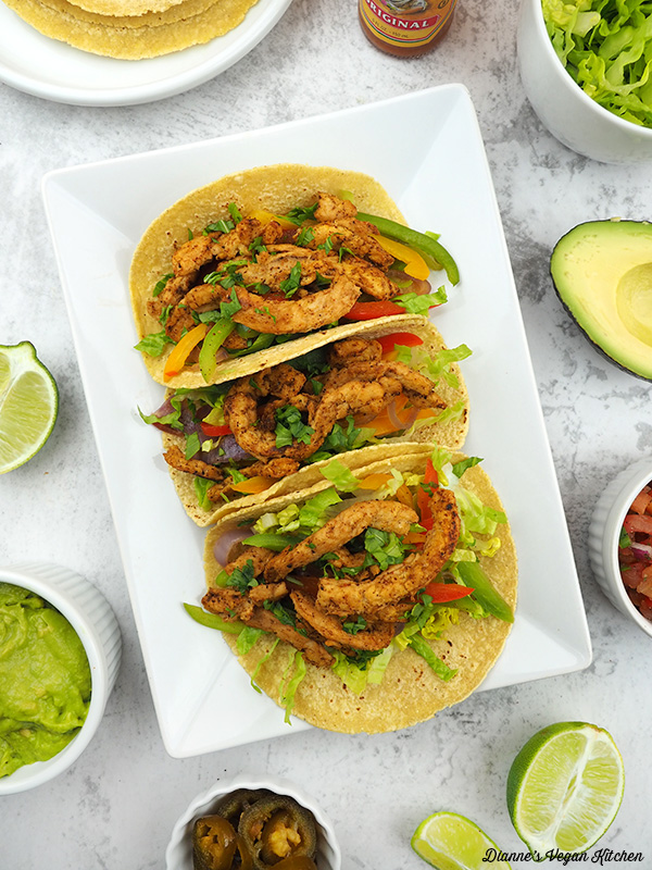 Vegan Soy Curl Fajitas on plate