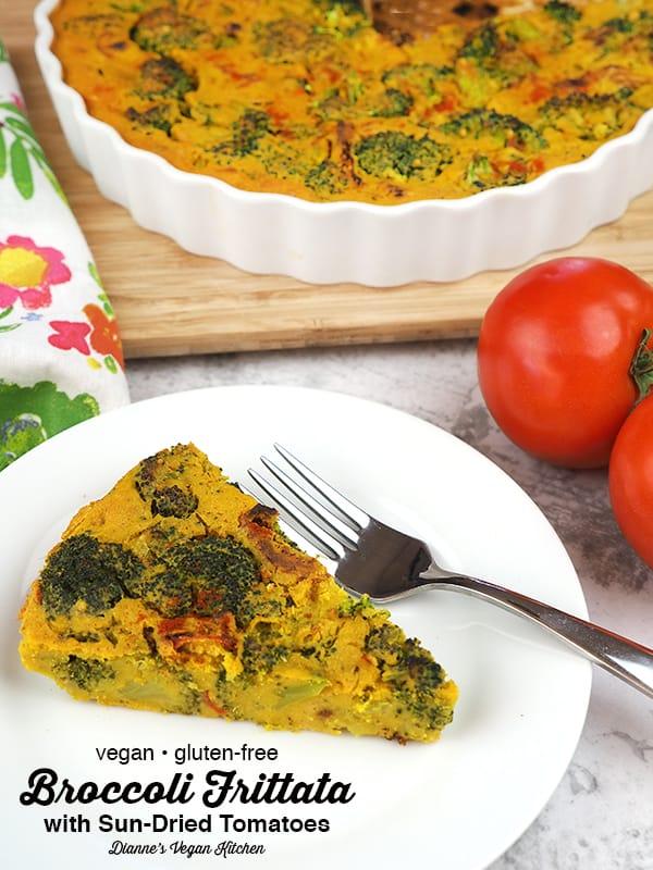 broccoli frittata slice, text overlay