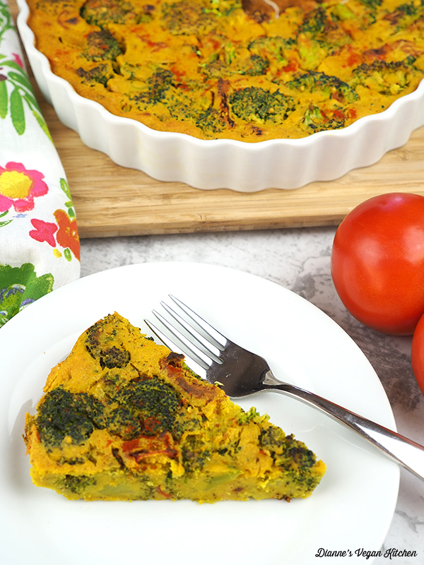 Vegan Broccoli Frittata with Sun-Dried Tomatoes slice on plate