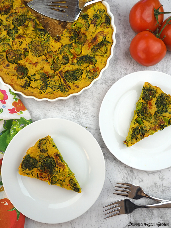 Vegan Broccoli Frittata with Sun-Dried Tomatoes slices on plates from above