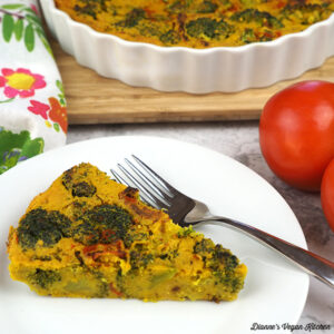 Vegan Broccoli Frittata with Sun-Dried Tomatoes slice square