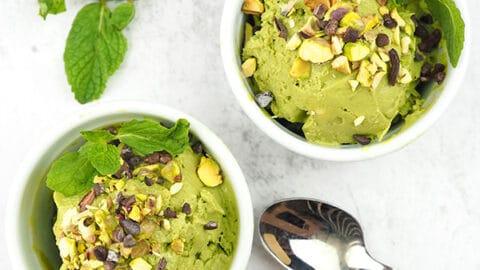 Vegan Matcha Avocado Ice Cream, 2 cups, square