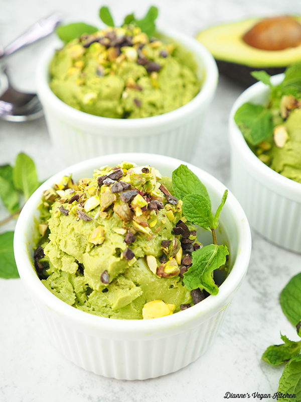 Vegan Matcha Avocado Ice Cream in cups from the front