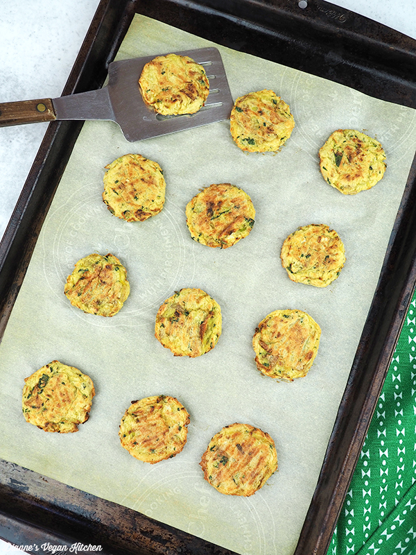 colcannon cakes on baking sheet fresh from the oven