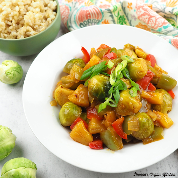 cooked sweet and sour brussels sprouts in bowls square