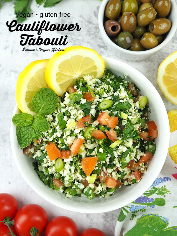 cauliflower tabbouleh bowl from overhead with text overlay