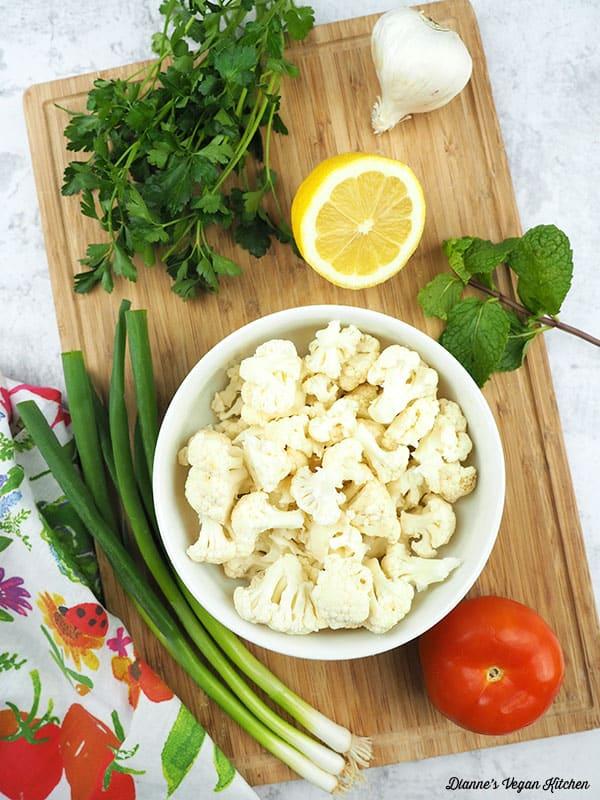 cauliflower tabbouleh ingredients