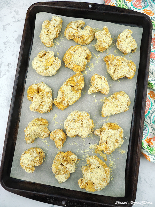 cauliflower on baking sheet