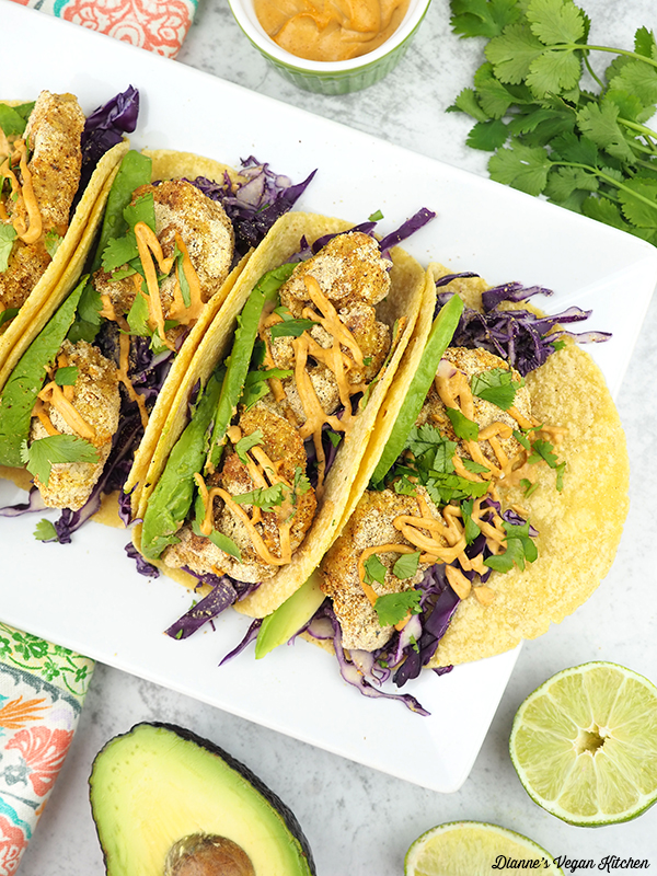 cauliflower tacos from above
