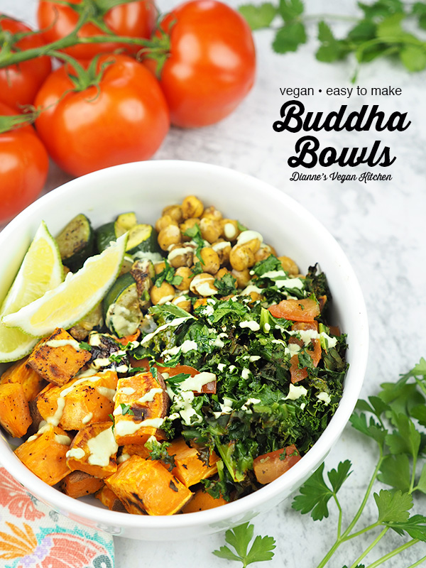 buddha bowl with tomatoes, text overlay