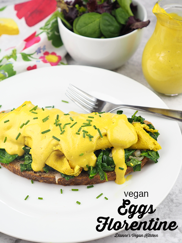 vegan eggs florentine with text overlay