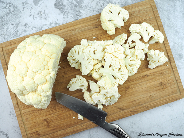 chopping cauliflower