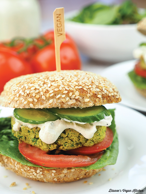 close up of falafel burger on bun