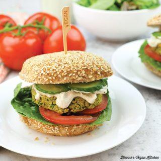 falafel burger on plate square