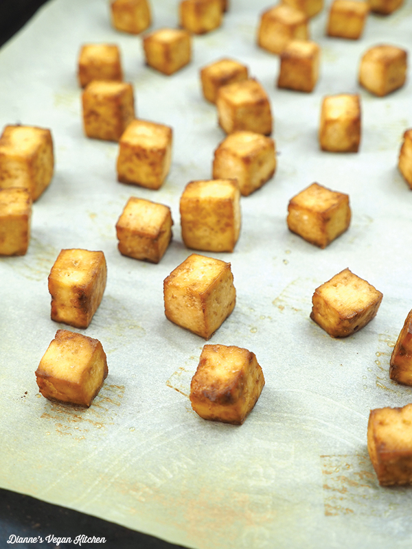 baked tofu on baking sheet fresh from the oven