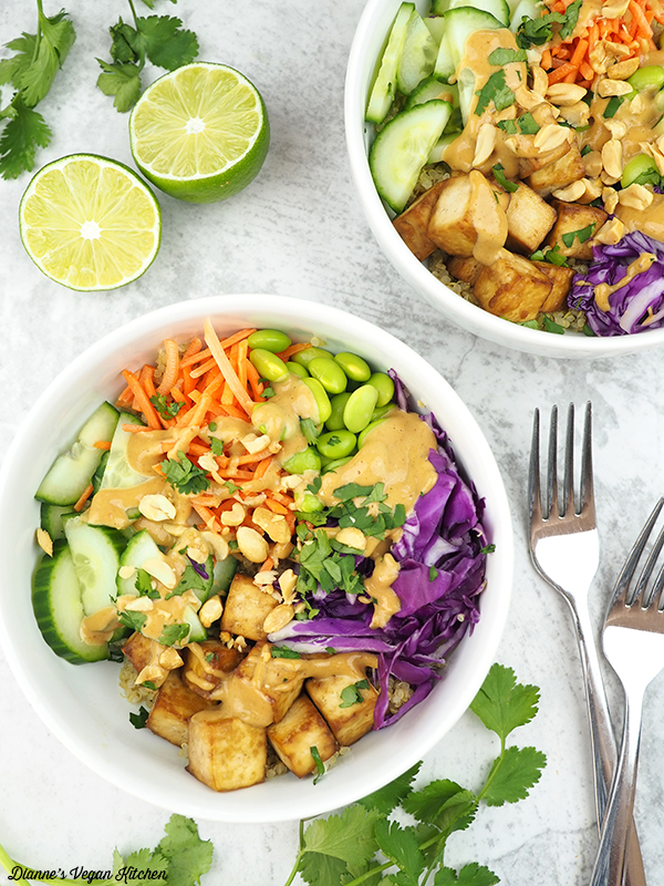 two bowls of thai quinoa salad