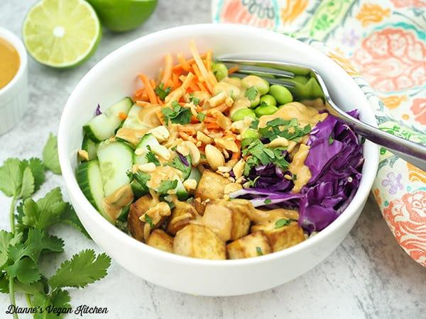 thai quinoa salad in bowl horizontal