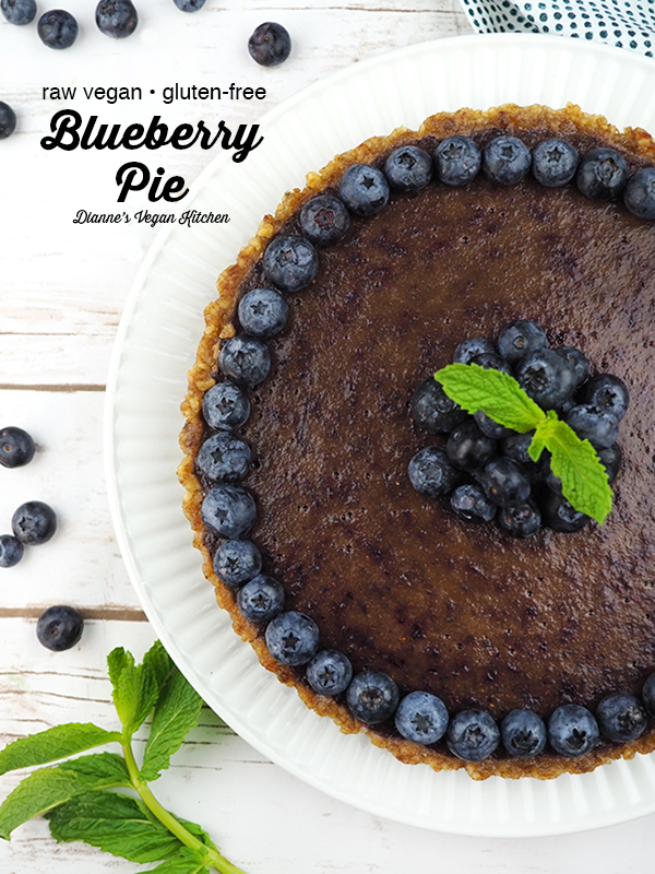 raw vegan blueberry pie from above with text overlay