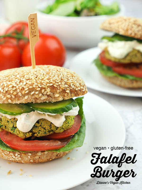 falafel burgers on plates with text overlay