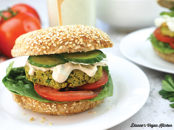falafel burger on plate close up horizontal