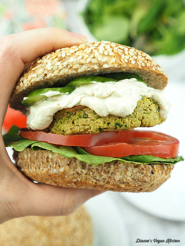 falafel burger in hand