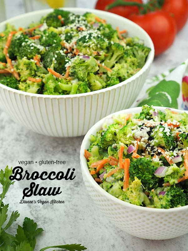 Vegan Broccoli Slaw in two bowls with tomatoes and text overlay