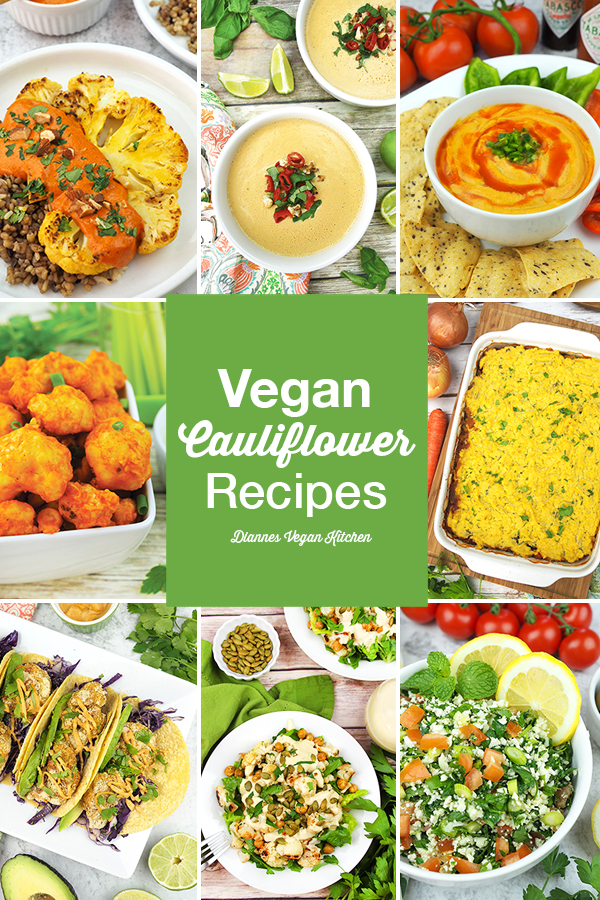 health benefits of cauliflower and vegan recipes collage