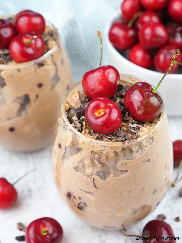 Vegan Cherry Chocolate Overnight Oats with bowl of cherries