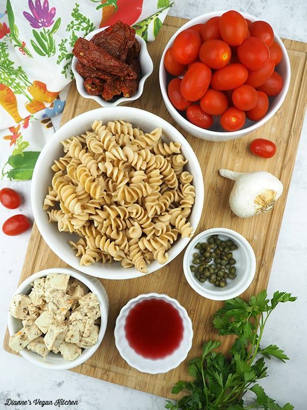 pasta, tomatoes, and tofu feta