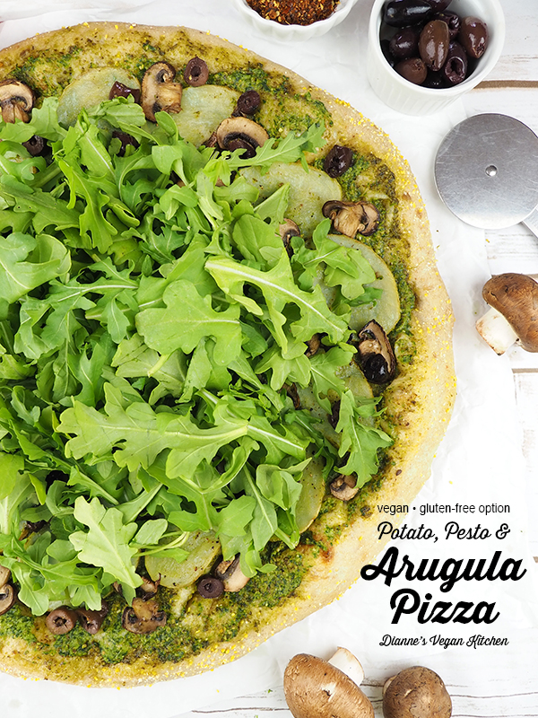 Vegan Potato, Pesto, and Arugula Pizza with text overlay