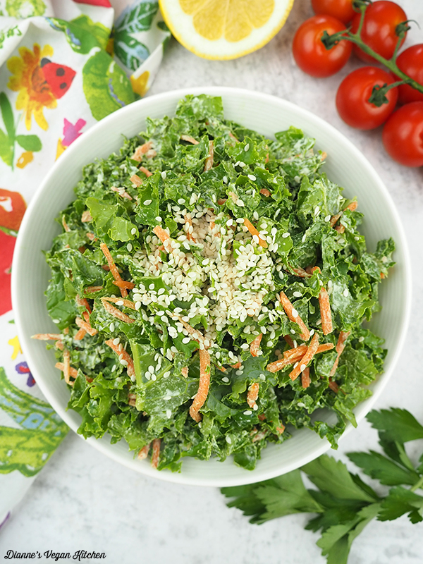 kale slaw with tomatoes and lemons from above